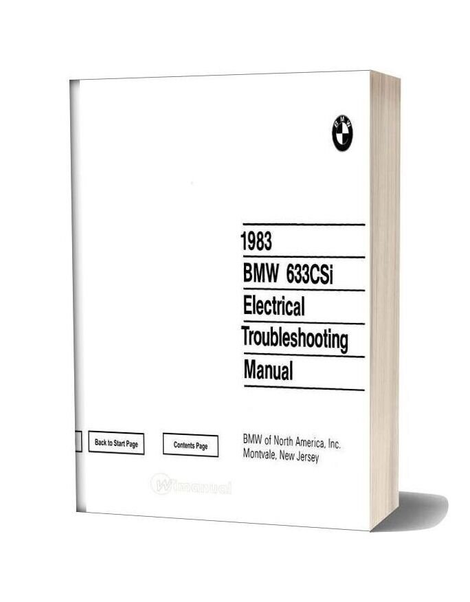 1983 Bmw 633csi Electrical Troubleshooting Manual