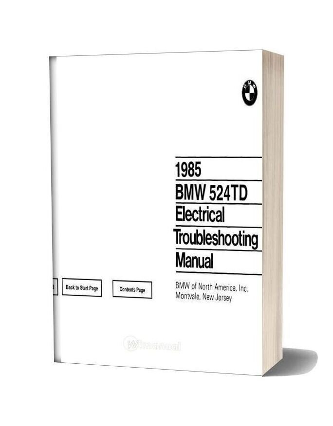 1985 Bmw 524td Electrical Troubleshooting Manual