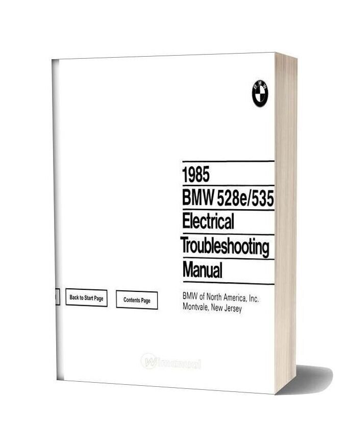 1985 Bmw 528e 533i Electrical Troubleshooting Manual