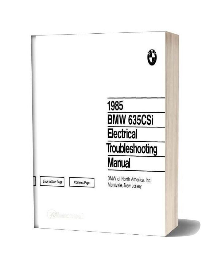 1985 Bmw 635csi Electrical Troubleshooting Manual