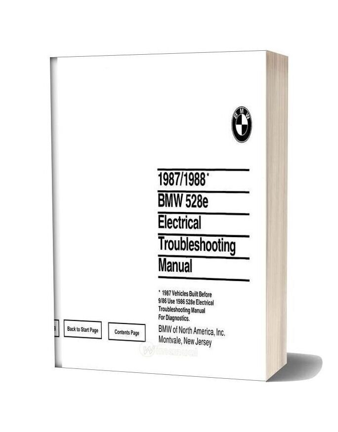 1987 1988 Bmw 528e Electrical Troubleshooting Manual