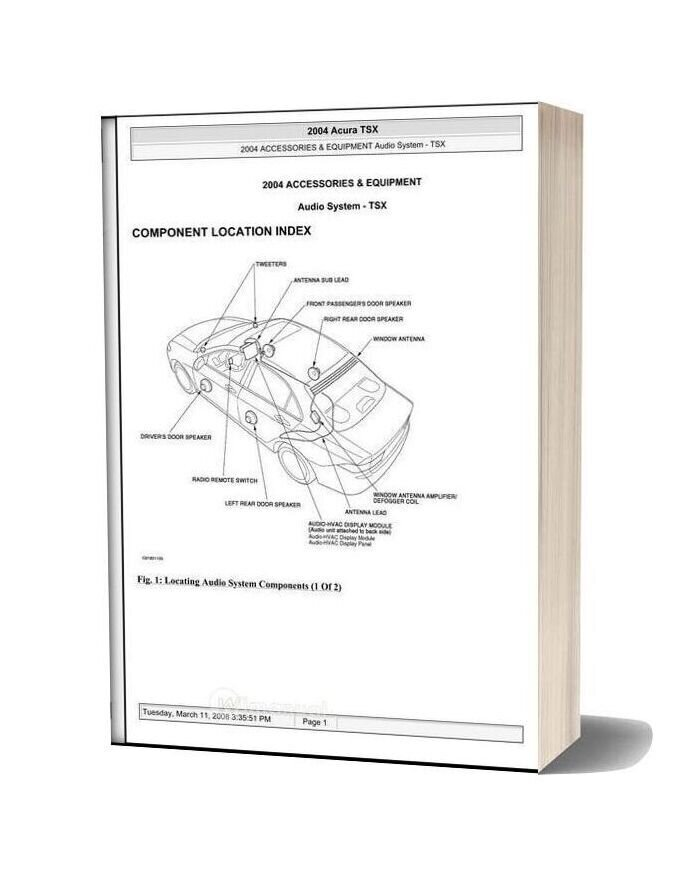 Acura Tsx 2003 2008 Audio System Service Repair Manual