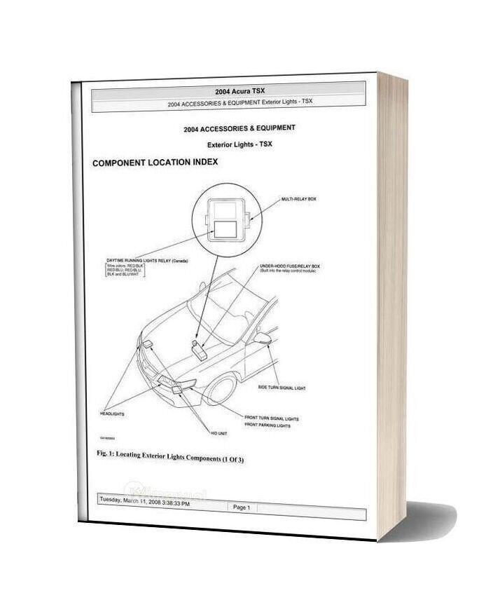 Acura Tsx 2003 2008 Exterior Lights Service Repiar Manual