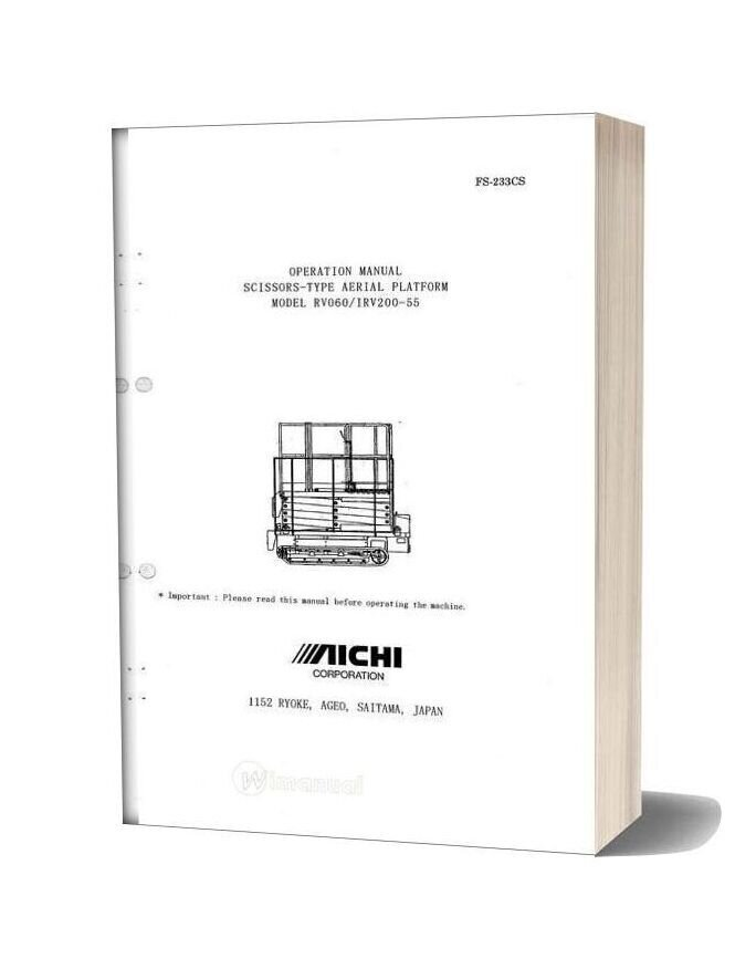 Aichi Scissors Type Aerial Platform Rv060 Irv200 55 Operation Manual