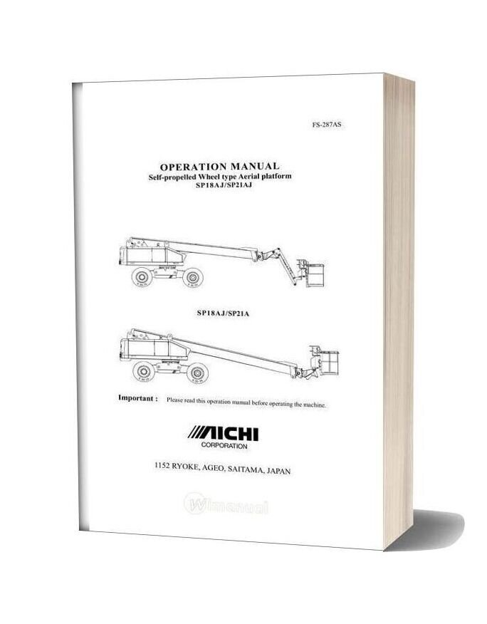 Aichi Self Propelled Wheel Type Aerial Platform Sp18aj Sp21aj Operation Manual