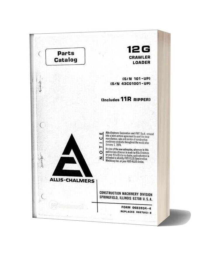 Allis Chalmers 12g Crawler Loader Parts Catalog