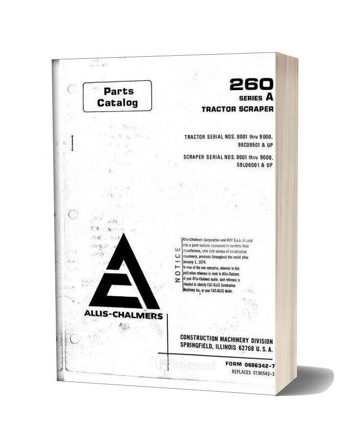 Allis Chalmers 260 Series A Tractor Scraper Parts Catalog