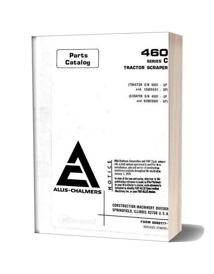 Allis Chalmers 460 Series C Tractor Scraper Parts Catalog