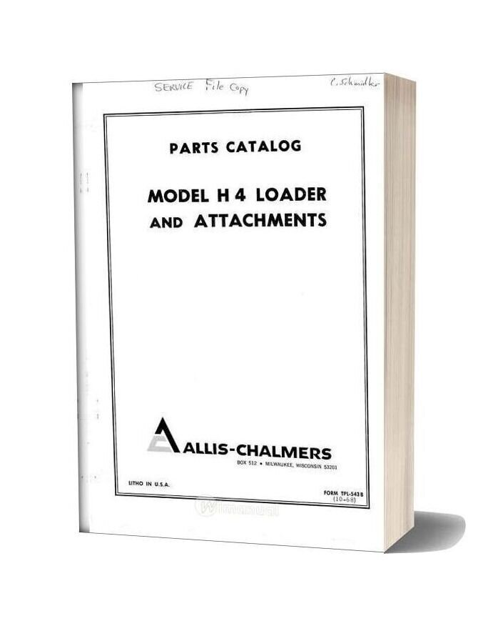Allis Chalmers H4 Hd4 Loader Parts Catalog