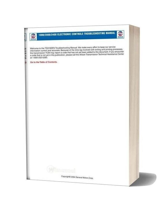 Allison Transmission Ts3192en 2004 Service Manual