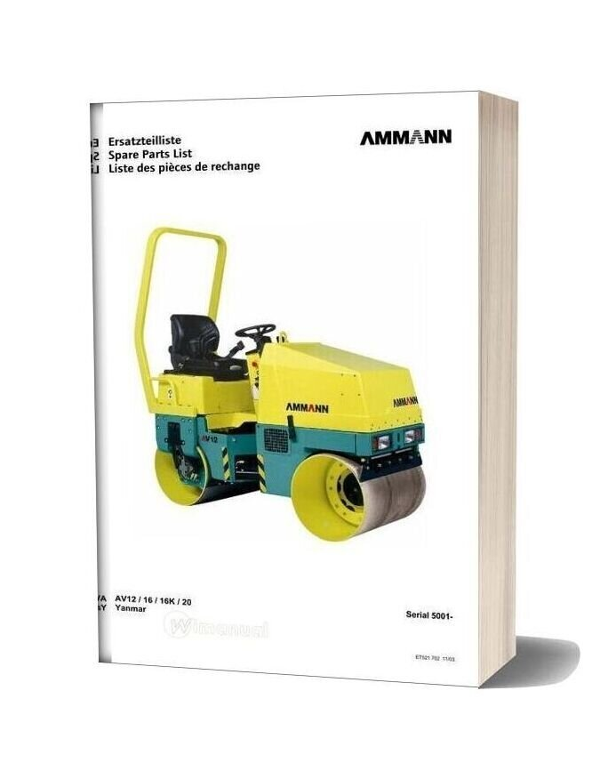 Ammann 521702 Et Liste Av12 20 03 Yan 5001 9999 Parts Catalogue