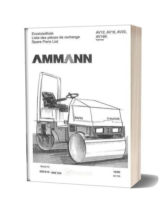 Ammann 591795 Et Liste Av12 20 95 Yan 0010 0224 Parts Catalogue