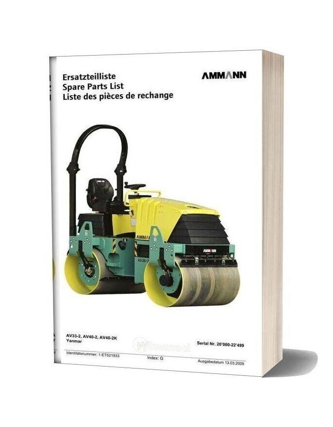 Ammann Avp07td Et Liste Av33 40 20000 22499 090313 Ml En Parts Catalogue