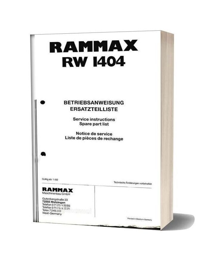 Ammann Pc Rw1404 V199301 Parts Catalogue