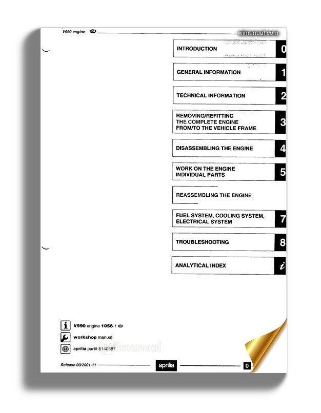 Aprilia V990 Workshop Manual