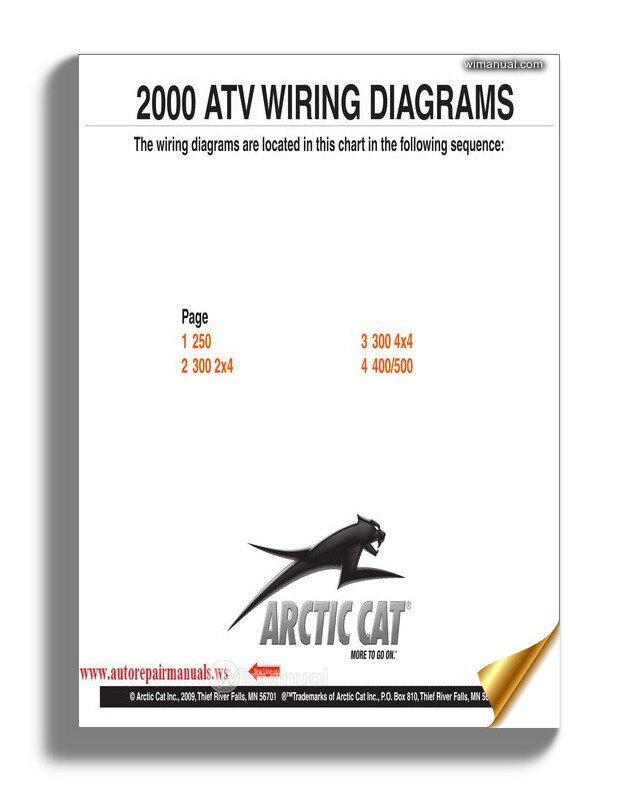 Arctic Cat 2000 Thru 2009 Atv And Snowmobilesnow Wiring Diagrams on arctic cat ford, viking wiring diagram, norton wiring diagram, arctic cat radio, arctic cat atv schematic, tomos wiring diagram, arctic cat cooling system, arctic cat schematic diagrams, arctic cat switch, arctic cat fuel tank, husaberg wiring diagram, arctic cat honda, arctic cat ecu, yamaha wiring diagram, tohatsu outboard wiring diagram, arctic cat secondary spring, arctic cat cdi box, arctic cat chain adjustment, arctic cat cylinder head, arctic cat electrical schematics,