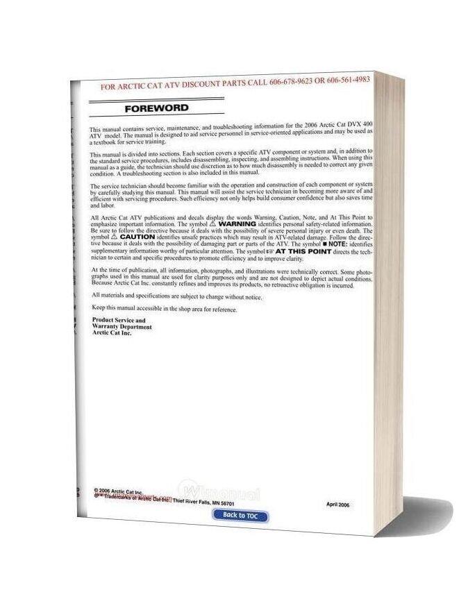 Arctic Cat 2006 Dvx 400 Service Manual