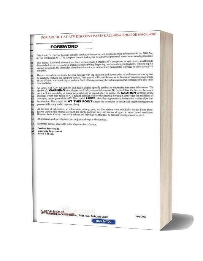 Arctic Cat 2008 700 Diesel Service Manual