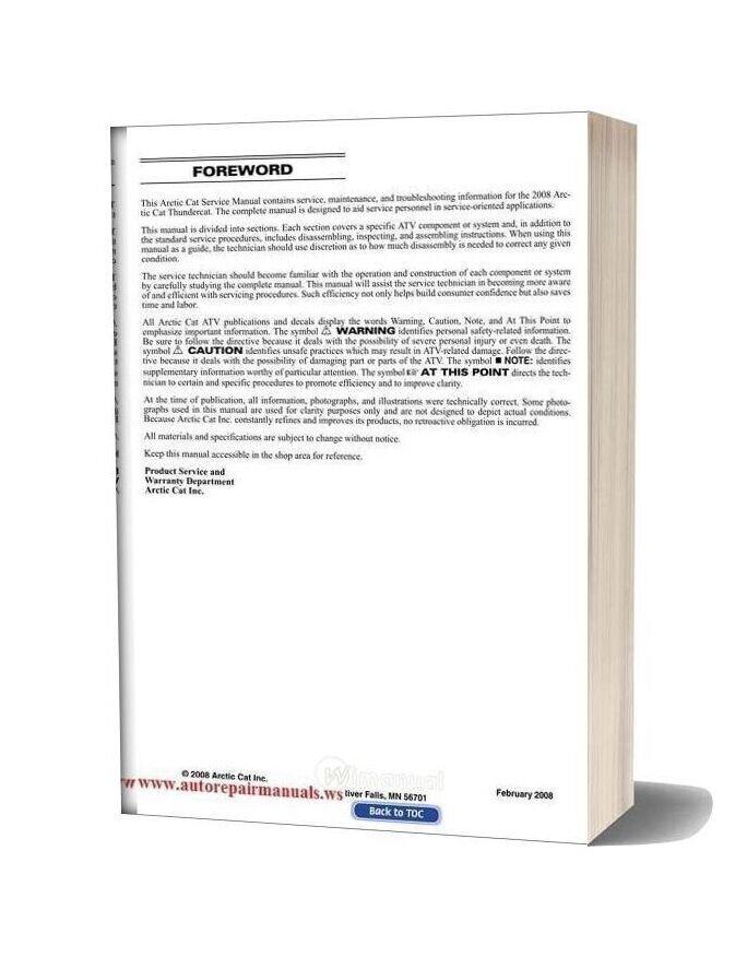 Arctic Cat 2008 Thundercat Service Manual