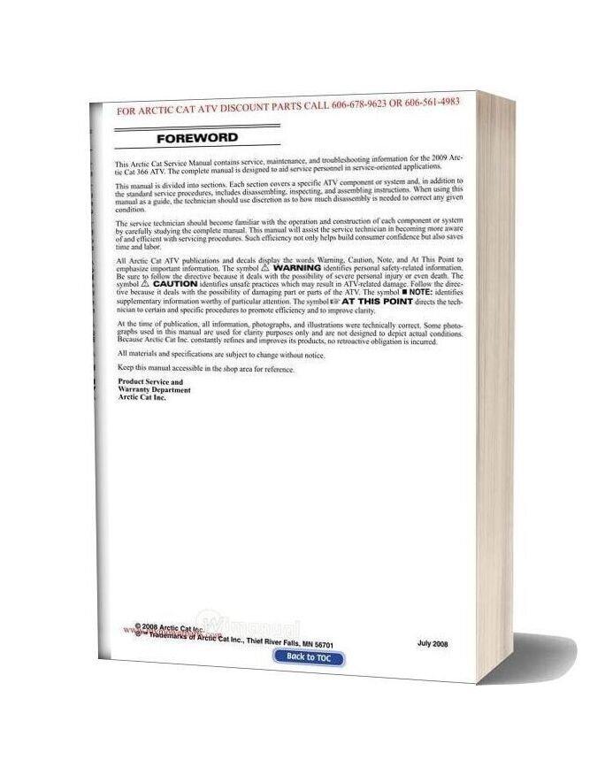 Arctic Cat 2009 366 Service Manual