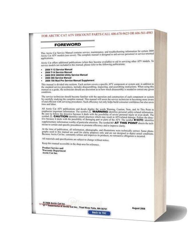 Arctic Cat 2009 400 Trv 500 550 700 1000 Thundercat Service Manual