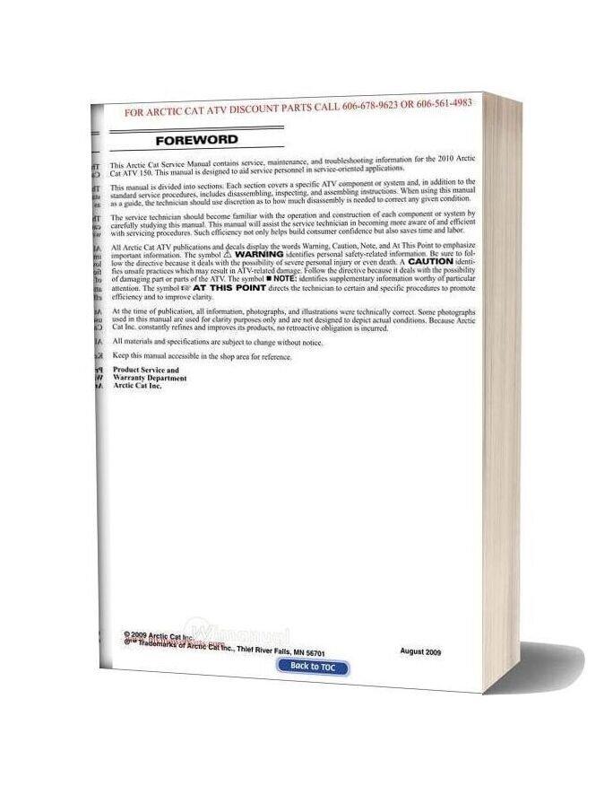 Arctic Cat 2010 150 Service Manual