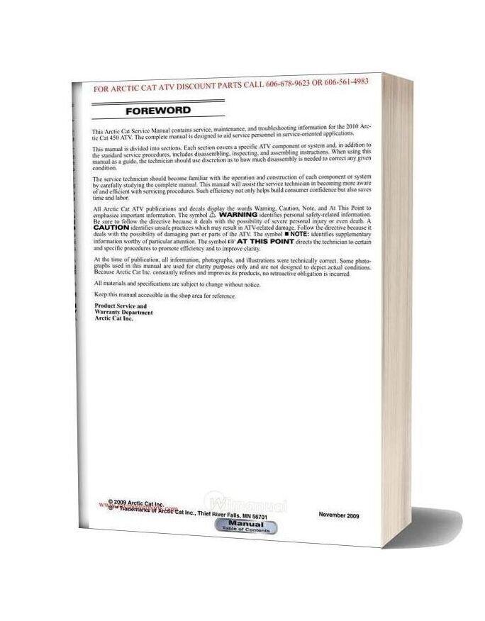 Arctic Cat 2010 450 Service Manual