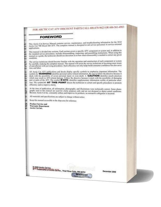 Arctic Cat 2010 700 Diesel Service Manual