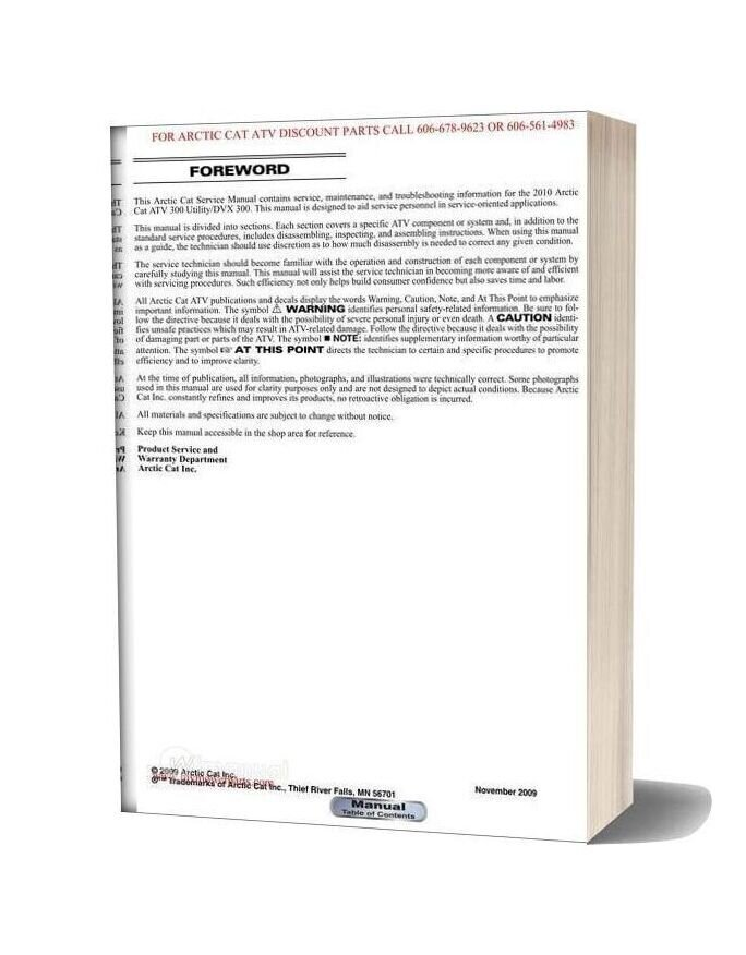 Arctic Cat 2010 Dvx 300 And 300 Utility Service Manual