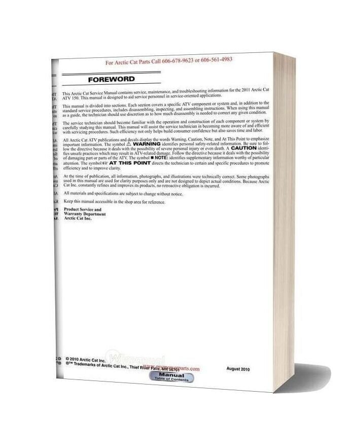 Arctic Cat 2011 150 Service Manual