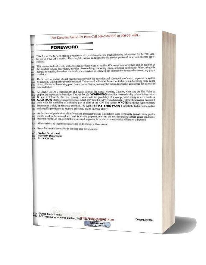 Arctic Cat 2011 350 425 Service Manual