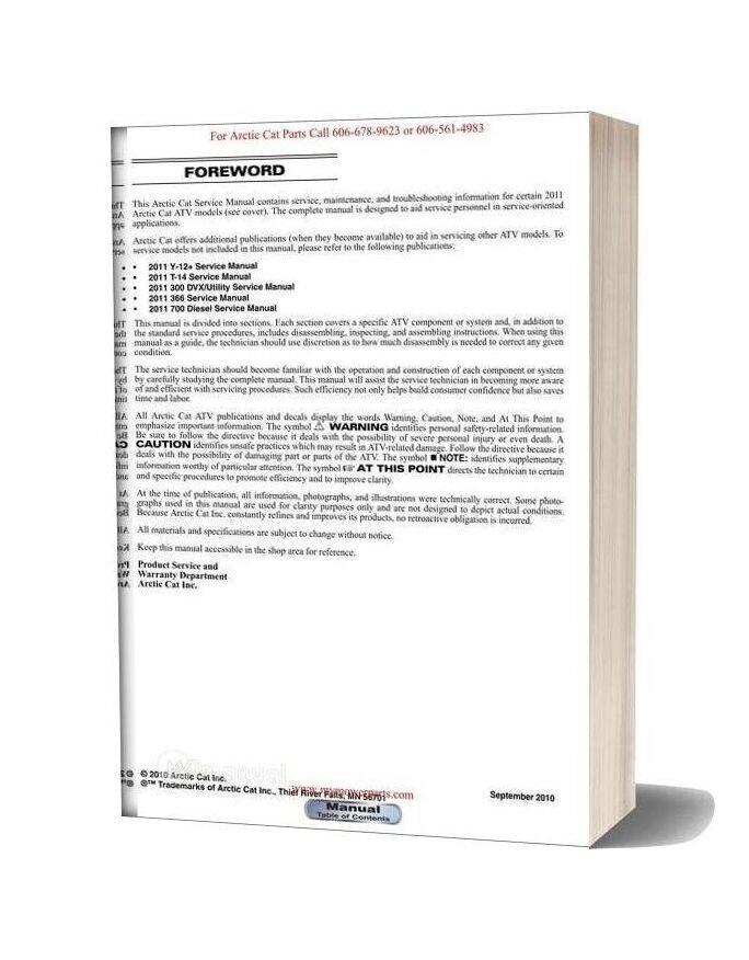 Arctic Cat 2011 450 550 650 700 1000 Service Manual
