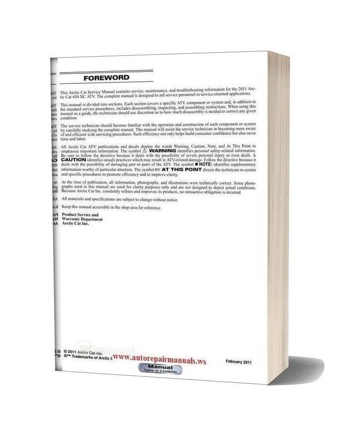 Arctic Cat 2011 450xc 450 Xc Service Manual