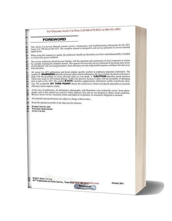 Arctic Cat 2011 700 Diesel Sd Service Manual