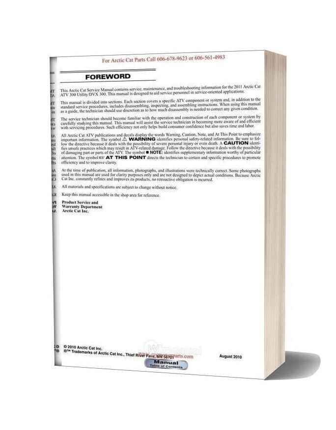 Arctic Cat 2011 Dvx 300 And 300 Utility Service Manual