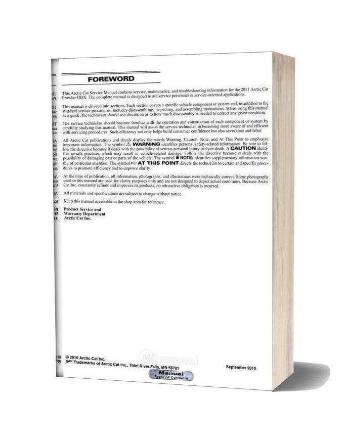 Arctic Cat 2011 Prowler Hdx Service Manual