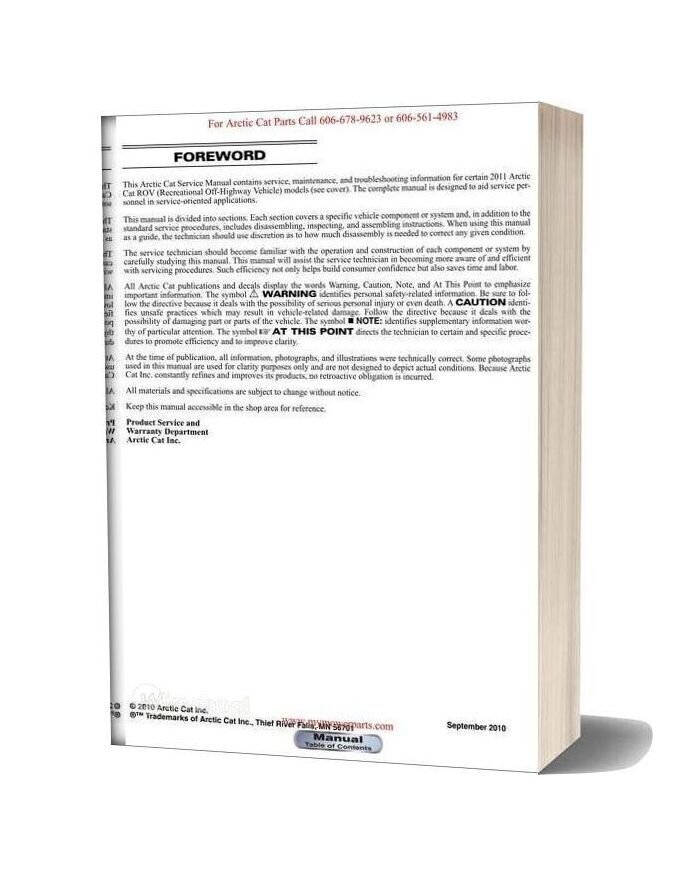 Arctic Cat 2011 Prowler Xt Xtx Xtz Service Manual