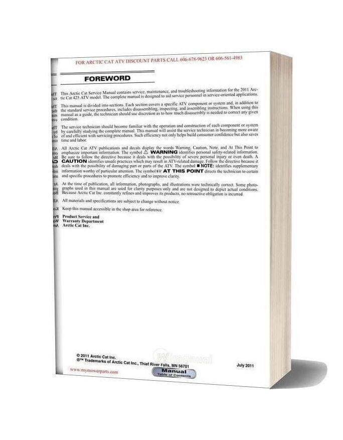 Arctic Cat 2012 425 Service Manual