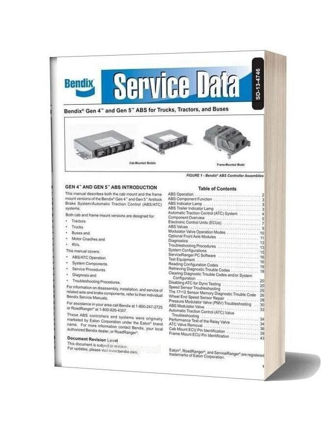 Bendix Gen 4 Gen 5 Abs Service Data (Sd 13 4746)
