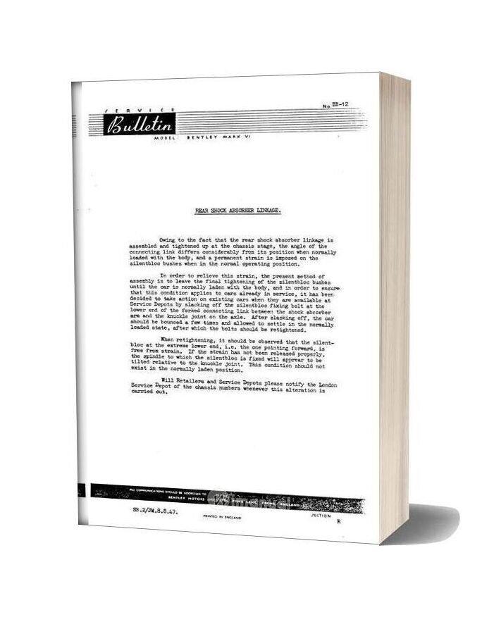 Bentley Mkvi And R Type Frame Rear Shock Dampers Service Bulletins