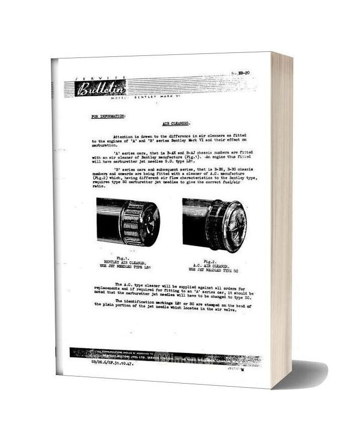 Bentley Mkvi And R Type Fuel System Service Bulletins