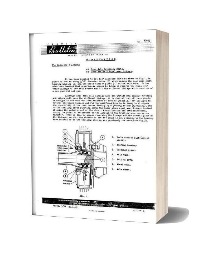 Bentley Mkvi And R Type Rear Axle Service Bulletins