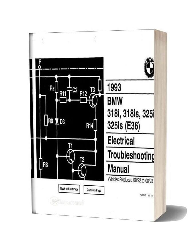 Bmw 318i 318is 325i 325is 1993 Electrical Troubleshooting Manual