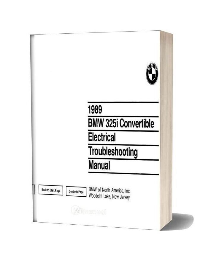 Bmw 325i 1989 Convertible Electrical Troubleshooting Manual