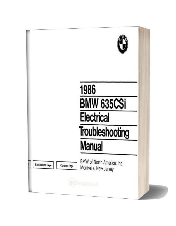 Bmw 635csi 1986 Electrical Troubleshooting Manual