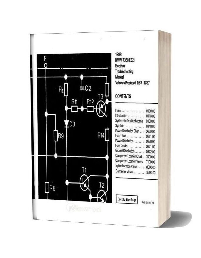 Bmw 735i 1987 Electrical Troubleshooting Manual