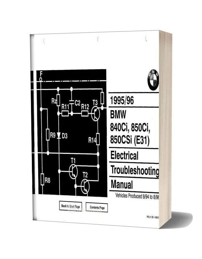 Bmw 840ci 850ci 850csi 1995-96 Electrical Troubleshooting Manual