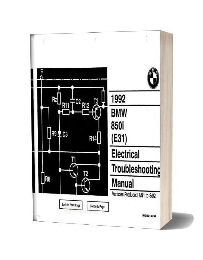Bmw 850i 1992 Electrical Troubleshooting Manual