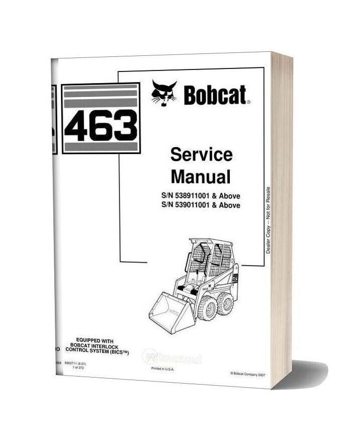 Bobcat 463 538911001 Service Manual