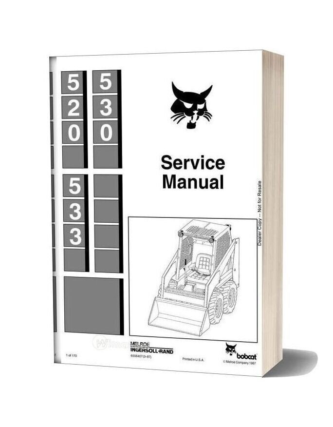 Bobcat 530 533 Skid Steer Loader Service Manual 6556407